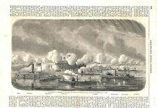 Guerre Civil USA Fort Sumter de Charleston Flotte Fédérale 1863 ILLUSTRATION