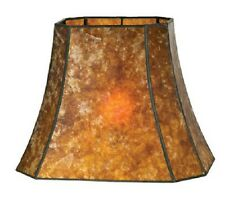 """Cut Corner Rectangle Mica Lamp Shade Antique Amber Vintage Style 16"""" X 10"""" X 12"""""""