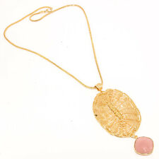 ROSE CHALCEDONY GEMSTONE GOLD PLATED DESIGNER JEWELRY NECKLACE 16-18""
