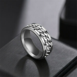 Spinning /Rotatable Chain Titanium 316L Stainless Steel Black Anxiety Ring Men