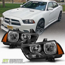 Blk 2011-2014 Dodge Charger Halogen Headlights Headlamps Replacement Left+Right (Fits: Dodge)