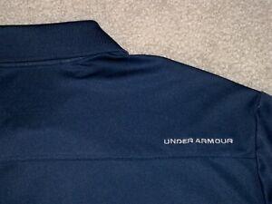 Men's UNDER ARMOUR HG Loose Polo XL NAVY BLUE w/Gray UA Logos ~ Poly/Spandex