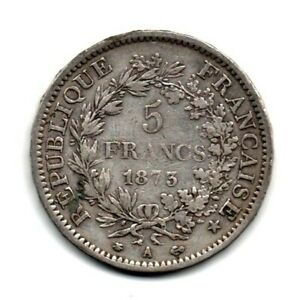 Pièce de Monnaie 5 Francs Hercule en Argent de 1873 A ( PARIS )
