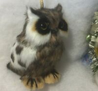 Spotted Owl Christmas Tree Ornament, Faux Fur, Woodland
