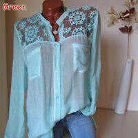 Women Blouse Long Sleeve Shirt Casual Lace Loose Casual Tops Plus Size S-5XL HOT