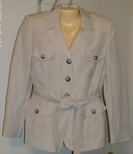 Le Suit Jacket New with Tags 10P Petite Linen Rayon Safari Tan 3 Button Belted