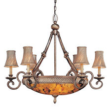 9 Light Chandelier Cartouche Bronze Finish hand-fitted Cracked pen shell glass