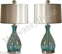 Turquoise AQUA BLUE Table Lamp PAIR Set MOUTH BLOWN GLASS Contemporary Horchow