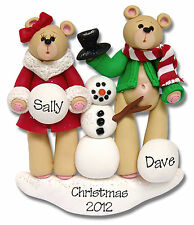 BEAR FAMILY OF 2 SNOWMAN Handmade COUPLES Personalized Christmas Ornament Deb
