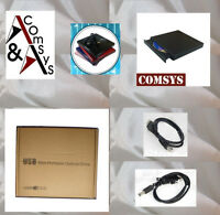 Externes USB 2.0 DVD-ROM CD RW Brenner Laufwerk CD Writer CD±RW PC Mac Black OVP