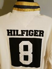 Mens vintage TOMMY HILFIGER SPELLOUT number 8 long sleeve polo shirt. Sz XL/TG