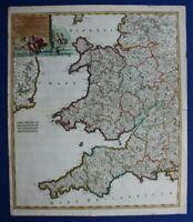 SOUTH WEST ENGLAND, WALES, 'Regni Angliae', original antique map, De Wit, c.1680