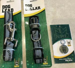 NRL NZ Warriors dog collar adjustable, Warriors dog lead & pet id tag set - new