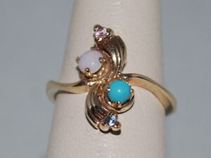 10k Gold ring with a Opal(Oct birthstone) and Turquoise in a beautiful design