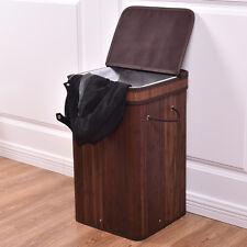 Square Bamboo Hamper Laundry Basket Washing Cloth Storage Bin Bag W/Lid Brown