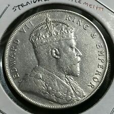 1908-H STRAITS SETTLEMENTS SILVER ONE DOLLAR CROWN COIN