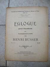 Partition Eglogue pour Hautbois Henri Busser Music Sheet