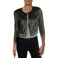 Jessica Howard Womens Jacket Gold Size 8P Petite Floral-Lace Bolero $49- 999