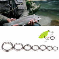 50Pcs Fishing Solid Stainless Steel Snap Split Ring Tackle Connector Lures K9Z9