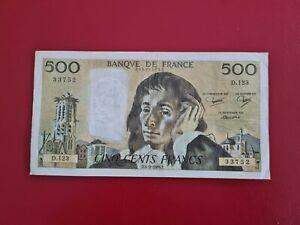 FRANCE Billet 500 Francs PASCAL du 4/9/1980 voir photo...
