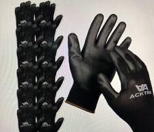 ACKTRA Ultra-Thin Polyurethane (PU) Coated Nylon Safety WORK GLOVES 12 Pairs,...