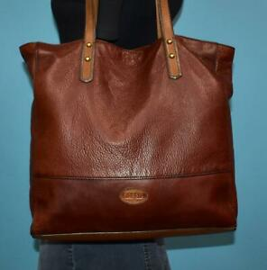 FOSSIL ZOEY Dark Brown Pebbled Leather Shoulder Tote Bag Purse Carryall Shopper