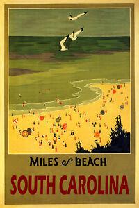 Miles Beaches South Carolina Sun Umbrellas Travel Vintage Poster Repro FREE S/H