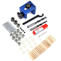 Wood Dowel Hole Drilling Guide Jig Drill Bit Kit Woodworking Positioner Tool