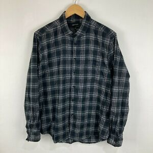 Quiksilver Mens Button Up Shirt Size XL Super Slim Fit Black Plaid Long Sleeve