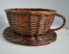 Wicker tea cup & saucer basket.  Afternoon tea novelty gift hamper storage. 24cm