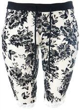 Girls Womens Plus Size New Black White Knee Length Stretch Shorts Ladies