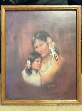 Vintage M. Caroselli Native American Mother/Daughter Print in Wood Frame-USED