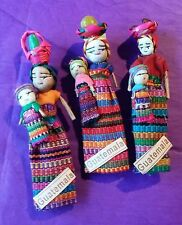 "Set of 3 Guatemalan Worry Doll Refrigerator Magnets 4.5"" Basket w/Fruit Baby"