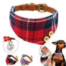 British Plaid Bandana-Style Dog Collar & Tag Engraved Pet Neckerchief Adjustable