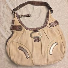 GUESS Large Hobo Purse Hand Bag Shoulder Beige Natural Brown