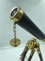 """Antique Marine Nautical Navy Brass Telescope 20"""" Tall with Wooden Tripod Stand"""