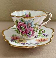 Rosina Bone China Teacup and Saucer Floral Pattern Mismatched Set