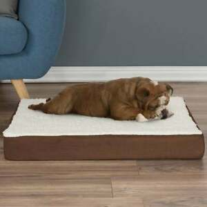 """Orthopedic Sherpa Top Pet Dog Bed Memory Foam Removable Cover XL 30"""" x 20"""" NEW"""