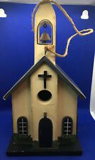 Church Birdhouse With Bell Tower Hand Painted Multi-Colors.
