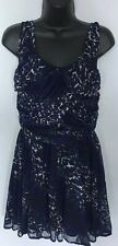 TOPSHOP DRESS UP CHIFFON LAYERED ANIMAL PRINT DRESS UK 10 BLACK/BLUE G9
