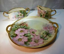 Antique Germany Hand Painted Porcelain 3 Pc. Creamer Sugar & Plate Dessert Set
