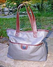 "TOMMY HILFIGER TOTE, Gray & Brown Pebble finish Large Shopper L14"" Ht11"" D5"""