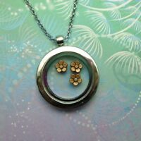 New Adorable Floating Charm Locket Necklace -  Bronze Flowers