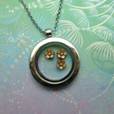 Floating Charm Locket Necklace -  Bronze Flowers