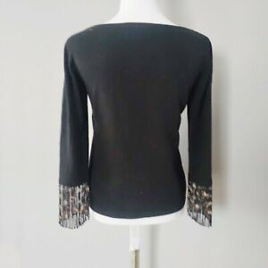 Escada Black Wool Blend Knit Sweater with Beaded Sleeves Boat Neck Career Sz 34
