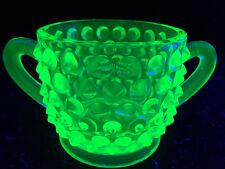 Green Vaseline glass Hobnail pattern dish uranium coffee sugar bowl holder match