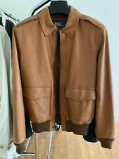 Polo Ralph Lauren lamb leather A2 bomber flight jacket men's S small brown
