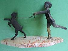 Statue métal Enfant fille Chèvre socle marbre P. SEGA France ancien Art Nouveau