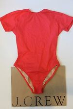 NWT J Crew Open Back Short Sleeve Swimsuit RED Sz 4 Small G3542 $118