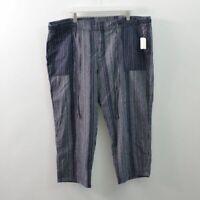 GAP NWT Drawstring Pants Crop Capri Linen Cotton Blue Womens 2XL XXL